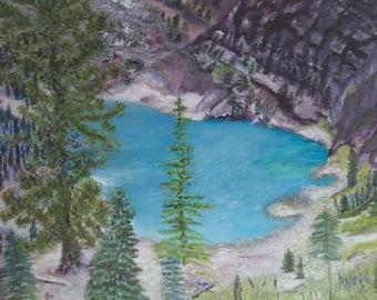 "Landscape Wall Art Print- Original Oil Painting- ""Hidden Lake 2""- 8x10, 11x14, or 16x20"