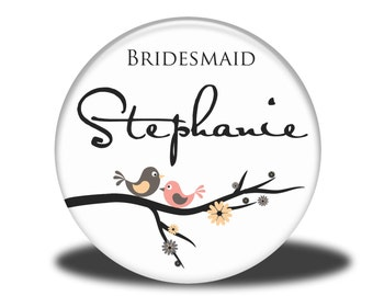 PERSONALIZED Bridesmaid Gift - Mirror, Magnet, Bottle Opener or Pin - Lovebirds on a Branch
