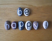 Be Happy, 8 Magnets Letters, Custom Quote, Beach Pebbles, Inspirational Word or Quote, Cheap Gift Ideas, Sea Stones, Personalized, Rocks