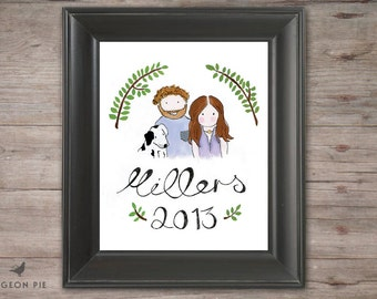 Custom family portrait. Wedding, house warming, anniversary or Christmas present