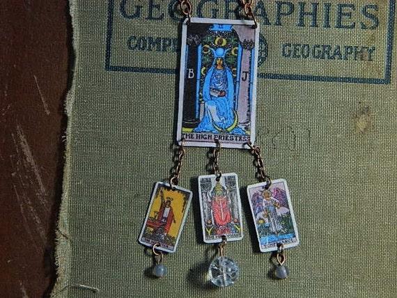 Tarot Cards Necklace High Priestess Quartz Crystal Moonstone