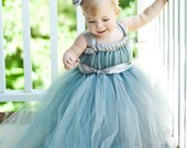 Flower Girl Empire Waist Babydoll Style Tutu Dress Silver and Gray with Satin Sash CUSTOMIZABLE