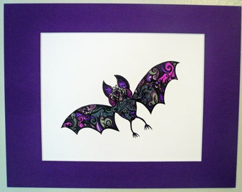 "Bat art, Original abstract pen and ink drawing,""Vampire Bat"", purple, black, grey"