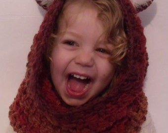 Crochet FoxyFox Snood Hood with Ears INSTANT DOWNLOAD PDF from Thomasina Cummings Designs