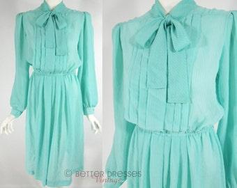 70s Secretary Dress in Aqua Blue Green - med, lg