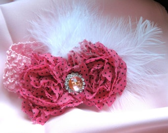Pink Baby Waffle Headband with White Feathers Pink Shabby Frayed Flowers and a Pink and Rhinestone Accent