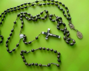 Vintage Rosary Parts, Ebonised Wooden Beads. Circa 1930's