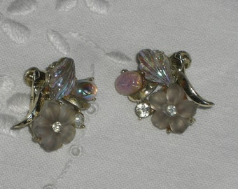 Earrings - Coro - Satin Glass Flowers - Opalescent Cabochons - Clip On - Vintage