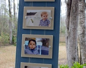 CUSTOM ORDER!!  3x5 Quadruple Frame, Distressed Frames, Coastal Cottage, Rustic Picture Frames