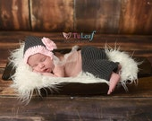 Newborn Flower Bonnet With Ribbon Ties Hat and Matching Shortie Pants Set Photo Prop