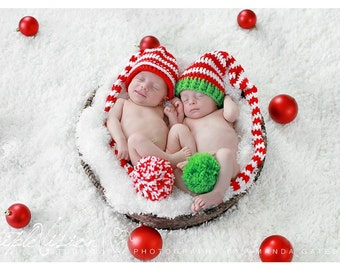 Newborn Elf Christmas Holiday Red White And Green Striped Crochet Hat