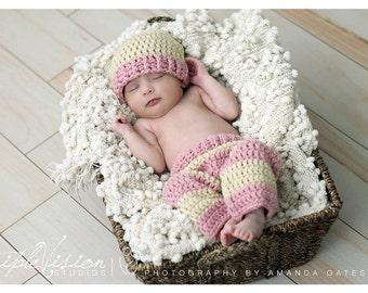 Newborn Pants and Two Tone Striped Hat Crochet Photo Prop Set