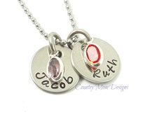 Two Names With Birthstones Personalized Hand Stamped Necklace Stainless Steel