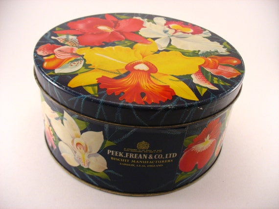 Peek Frean & Co., Ltd Biscuit Tin Orchids Flowers London England Scarce Hard to Find