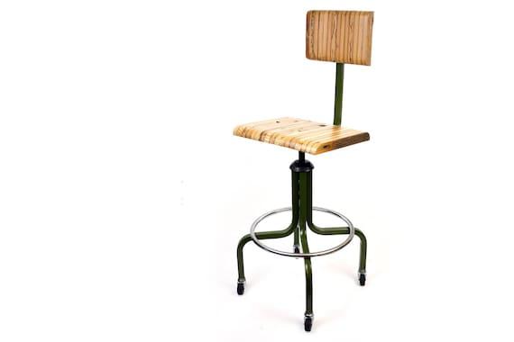 Industrial drafting chair vintage stool reclaimed wood
