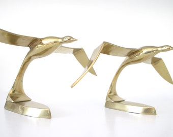 Pair of Vintage Brass Seagulls SALE