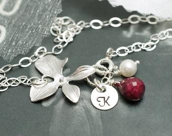 Monogram bracelet, choose birthstone, Hand stamped, Birthday gift, Coin Disc, Distance Friendship, Orchid bracelet