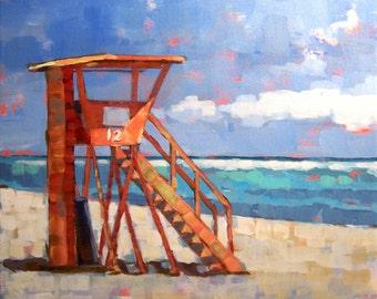 "Original Painting 'Tower 12"", Beach scene, square painting"