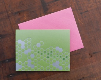 Letterpress You're Welcome Honeycomb Notecard