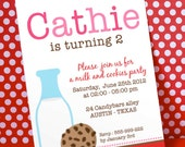 DIY PRINTABLE Invitation Card - Pink Milk & Cookies Birthday Party - PS812CA2a1
