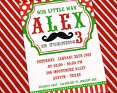 DIY PRINTABLE Invitation Card - Little Man Mustache Red & Green Birthday Party Invitation - PS829CA2a1