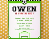 DIY PRINTABLE Invitation Card - Soccer Birthday Party Invitation - PS834CA1a1