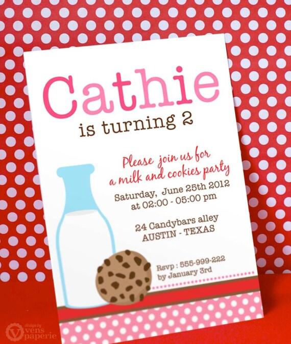 DIY PRINTABLE Invitation Card - Pink Milk & Cookies Birthday Party - PS812CA2a1