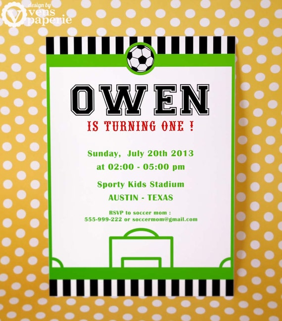 diy printable invitation card soccer birthday party, Birthday card