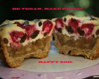 Vegan Magic Apple Raspberry Raisin Vanilla baby cheesecakes, love, animal free cruelty,no eggs,no dairy. Perfect for Valentine's Day.