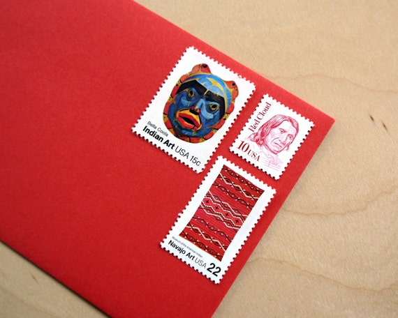 Vintage unused - Native American Art no.2 - postage stamps to post 5 letters - or use in scrapbooking and crafts