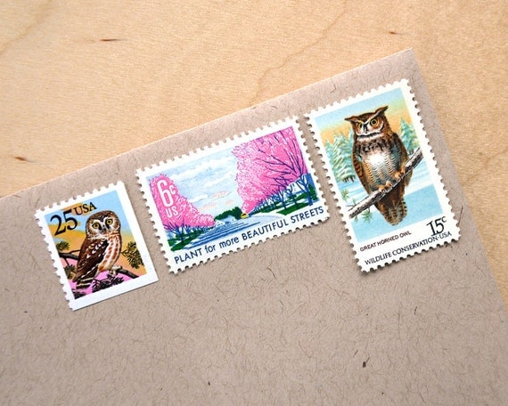 Vintage unused - Owl Post no.2 - postage stamps to post 5 letters - or use in scrapbooking and crafts