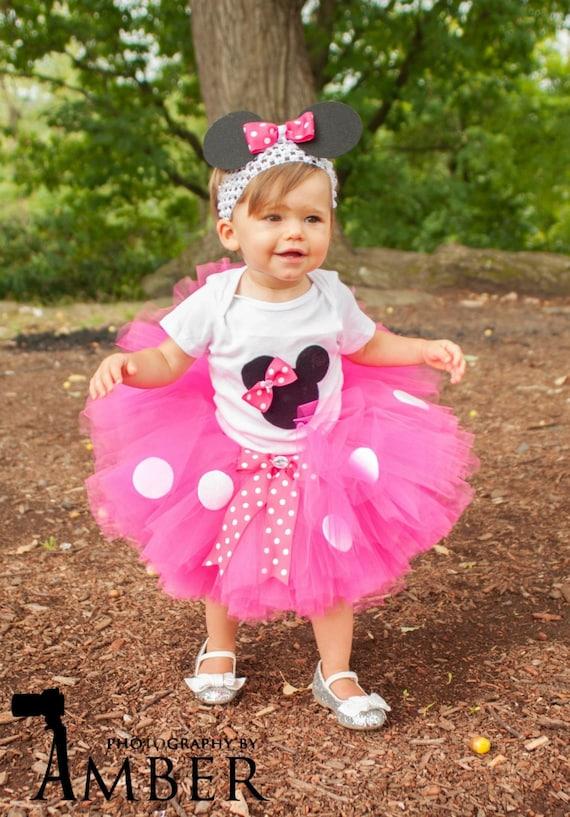 minnie mouse tutu baby tutu and puff headband by
