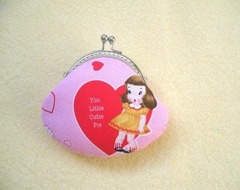 SHOP CLOSING SALE  Sweet Girl coin purse with kiss clasp frame in Pink - Valentine Gift, Bridesmaid Gift, Birthday gift