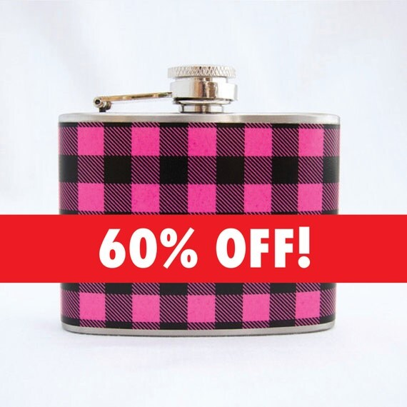 SALE: Pink Plaid Flask - Classic Flannel, Womens, 4 oz Stainless Steel Flask, Velour Bag Included