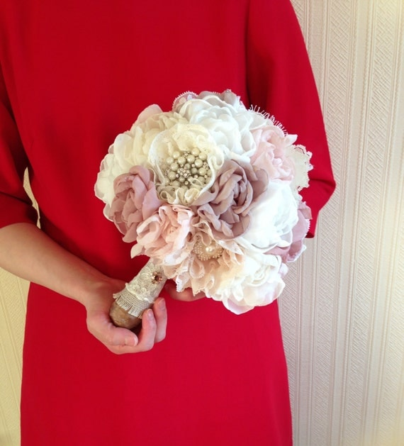 Fabric Flower Bouquet Vintage Weddings Peony Bouquet By