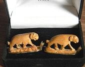 RARE Vintage SWANK Hand-Carved Sandalwood Tiger Cufflinks