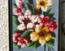 HAND STITCHED Needlepoint Tapestry - Appleblossom  (Ready to Ship)