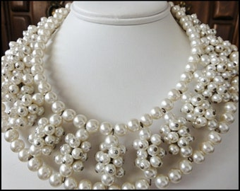 Lovely Wide Pearl Collar Necklace Wired Bead Chunky Clusters Glass Pearl  Necklace Mid Century 1950's-60's