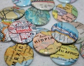 """TWO CUSTOM LOCATIONS Set 1"""" Map Pinback Buttons - Pick Your Own Location"""