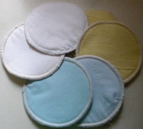 6 SWIRCLES cotton nursing pads for bra A B C D DD nursing breastfeeding - simply soft pastels flannel blue yellow white mix