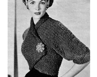 """Vintage 50's Knit """"Shrug"""" Jacket - PDF Pattern - INSTANT DOWNLOAD"""