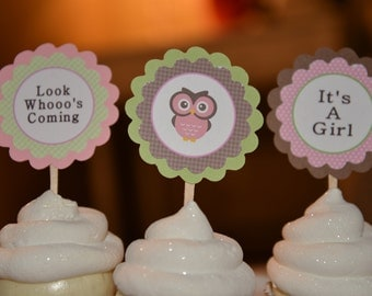 It's a Girl Owl theme cupcake toppers-set of 12