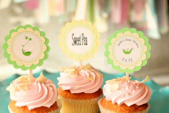 sweet pea baby shower cupcake toppersgreen and yellow