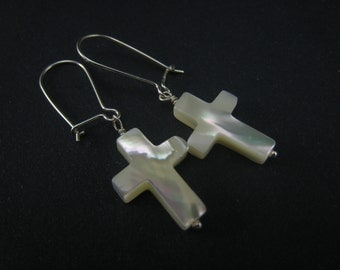 MOP cross earrings