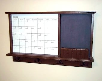 Dry Erase Calender and Chalkboard, furniture ,message board. key hooks , shelf, shabby and chic