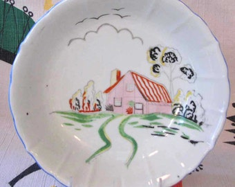 Vintage Art Deco Serving Bowl Hand Painted with Cottage Scene - Denmark 1930s