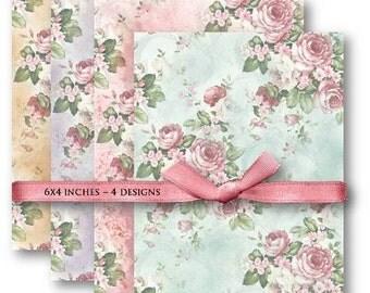 Digital Collage Sheet Download - Pink Roses Background -  598  - Digital Paper - Instant Download Printables