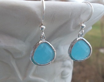 Blue Earrings, Earrings, Robins Egg Blue, Stunning, Sterling, Checkerboard Cut,Dangle Earrings, Bride, Jewelry, Birthday, Mother's Day Gifts