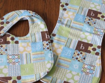 Bib and Burp Cloth Set- Gender neutral - Handmade Flannel- Reversible
