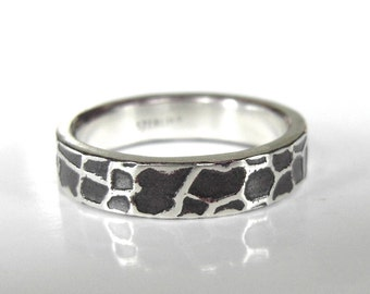 Giraffe Ring, 3-4mm wide, handmade in recycled Sterling Silver, Handcrafted and made to order, Statement ring